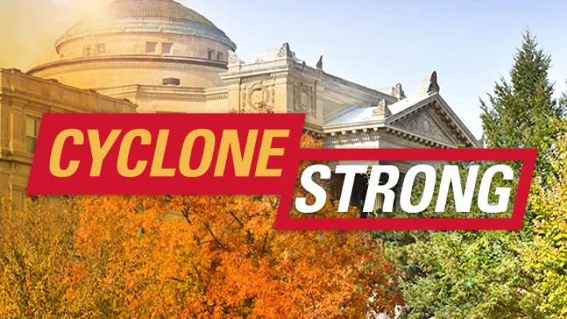 Cyclone Strong graphic with Beardshear Hall backdrop