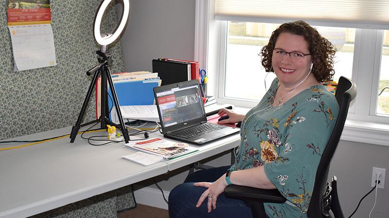 Ivy College of Business academic adviser Kelly Pistilli in her home office, where she holds the virtual meetings she encourages for her students. Contributed photo.
