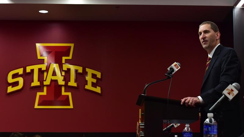 Athletics director Jamie Pollard speaks at a news conference.