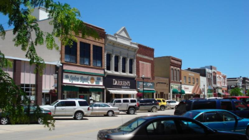 View of a small town main street.