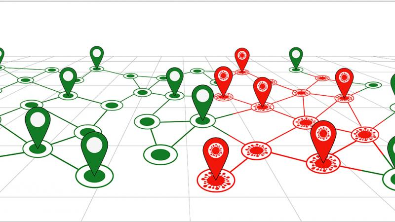 Illustration showing red and green interconnected points.