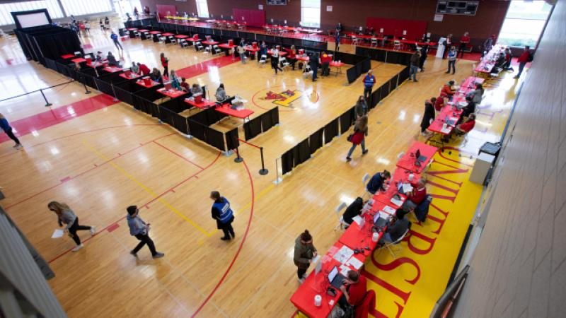 Overhead view of vaccination clinic setup in State Gym.